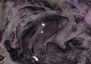 a purple texture that look slike oil paint, metal, fabric, and the surface of the moon, all at once. it is swirled and pulled together like fabric, glistens like water, has dark shadows like the sheen of metal.