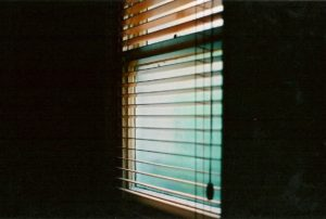 Indoor shot of a window with the shades partially drawn showing a mellow green light from the outside.