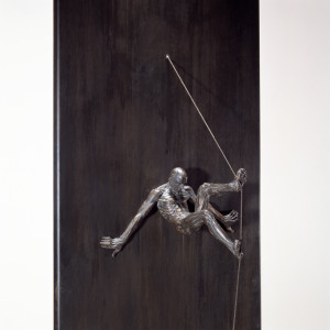 David Robinson. To the Wall, 1998. Edition of 6. Bronze, steel, string. 80 x 17 x 8 inches. Photo: Ken Mayer.