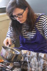 Glen Workshop Aubrey Allison woman melting wax
