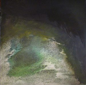 abstract green image with whitish and blue paint; very textured painting, looks maybe like seashore.
