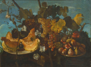 painting of a still life of grapes figs and marrow