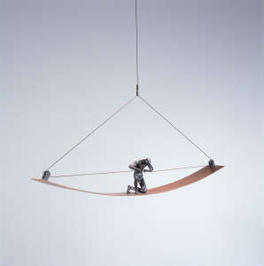 David Robinson. For the Moment, 1997. Edition of 12. Bronze, steel, cable. 5 x 32 x 4 inches. Photo: Ken Mayer.