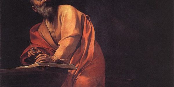 Caravaggio's painting of Saint Matthew's inspiration. Matthew stands partially kneeling on a tall stool, looking upwards to an angel who is giving him words. As Michelangelo looks up towards the young angel, he also writes.