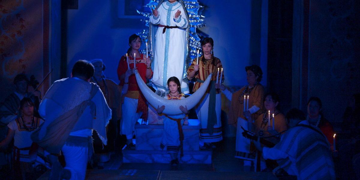 Plate 10. El Teatro Campesino. La Virgen del Tepeyac, 2010. The Virgin of Guadalupe appears to Juan Diego. Performed at the Mission of San Juan Bautista.